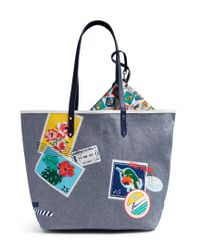 Vera Bradley   Blue Canvas Beach Tote With Pouch   Lyst