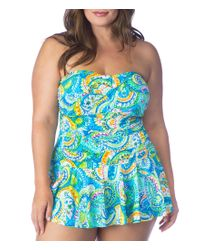 Lauren by Ralph Lauren | Blue Lauren By Ralph Lauren Plus Size Carnival Twist Shirred Skirted One-piece | Lyst