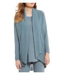 Eileen Fisher   Blue Draped Collar Open Front Solid Cardigan   Lyst