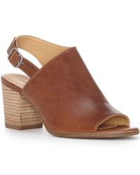 Lucky Brand | Brown Obelia Leather Slingback Peep Toe Stacked Block Heel Sandals | Lyst