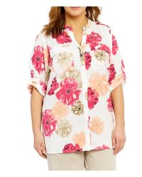 Calvin Klein   Pink Plus Roll-tab Sleeve Button Front Blouse   Lyst