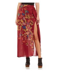 Free People | Red Bri Bri Butterfly Self Tie Side Slit Printed Faux-wrap Skirt | Lyst