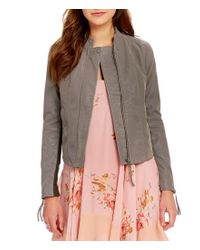 Free People | Gray Cool & Clean Notch Collar Zip Front Faux-suede Moto Jacket | Lyst