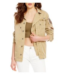 Free People | Natural Patched Pocket Embellished Military Jacket | Lyst