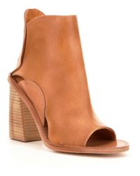 Free People | Natural Phoenix Leather Peep Toe Stacked Block Heel Booties | Lyst
