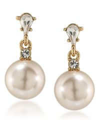 Carolee | Metallic Pink Champagne Faux-pearl Drop Earrings | Lyst