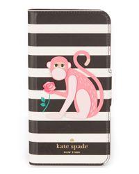 kate spade new york | Black Striped Monkey Folio Iphone 7 Case | Lyst
