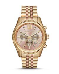 Michael Kors | Metallic Lexington Stainless Steel Chronograph Bracelet Watch | Lyst