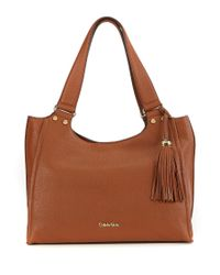 Calvin Klein | Brown Tasseled Pebble Leather Satchel | Lyst