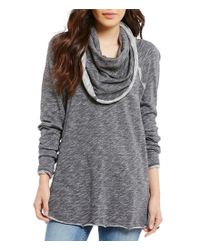 Free People | Gray Beach Cotton Cowl Neck Pullover Sweater | Lyst