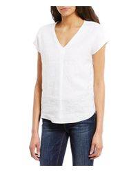 Vince Camuto   White Two By Extend Sleeve Relaxed V-neck Linen Blouse   Lyst