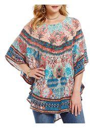Tolani - Multicolor Narissa 3/4 Sleeve Printed Caftan Tunic - Lyst