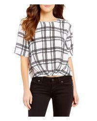 Guess   Black Alize Plaid Twist Front Short-sleeve Button Back Top   Lyst