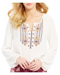 Billabong | Multicolor Dusty Roads Embroidered Woven Crinkle Split V-neck Long-sleeve Peasant Top | Lyst