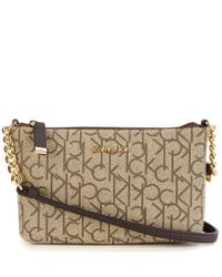 Calvin Klein | Brown Signature Monogram Cross-body Bag | Lyst
