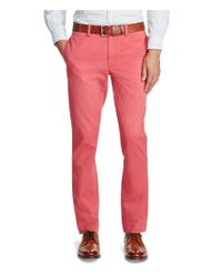 Polo Ralph Lauren | Red Slim-fit Flat-front Bedford Chino Pants for Men | Lyst