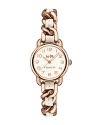 COACH | Metallic Delancy Rose Gold & White Woven Leather Bracelet Strap Watch | Lyst