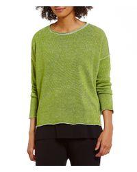 Eileen Fisher | Green Bateau Neck Long Sleeve Top | Lyst