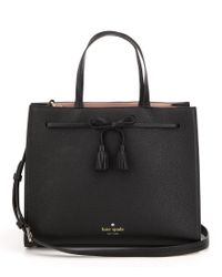 kate spade new york | Black Hayes Street Collection Isobel Tasseled Bow Tote | Lyst