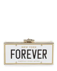 kate spade new york | Metallic Wedding Belles Collection Forever License Plate Clutch | Lyst