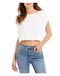 Free People | White Let It Go Crew Neck Cap Sleeve Knit Tee | Lyst