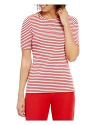 MICHAEL Michael Kors | Red Cut-out Neck Stripe Knit Tee | Lyst