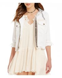 Free People   White Weekend Wanderer Notch Collar Button Front Embroidered Jacket   Lyst