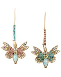 Betsey Johnson | Metallic Pavé Butterfly Mismatched Drop Earrings | Lyst