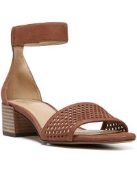 Naturalizer | Brown Faith Perforated Leather Banded Ankle Strap Dress Sandals | Lyst