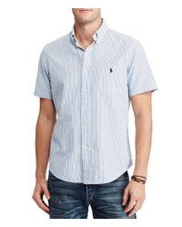 Polo Ralph Lauren | Blue Standard-fit Vertical-stripe Seersucker Short-sleeve Woven Shirt for Men | Lyst