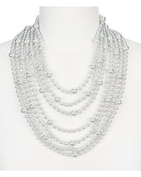 Carolee | Metallic Gray Rose Faux-pearl Multi-strand Statement Necklace | Lyst