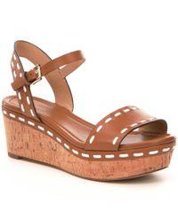 MICHAEL Michael Kors | Brown Fallon Platform Wedge Sandals | Lyst