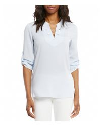 Ivanka Trump | White Toggle Chain Trim Split Neck 3/4 Roll Sleeve Blouse | Lyst