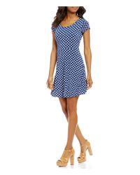 MICHAEL Michael Kors | Blue Scoop Neck Cap Sleeve Ikat Print Matte Jersey Dress | Lyst