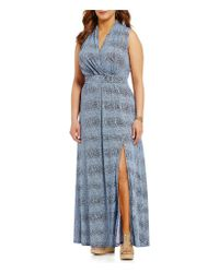 MICHAEL Michael Kors | Blue Plus Reptile Skin Print Side Slit Faux Wrap Maxi Dress | Lyst