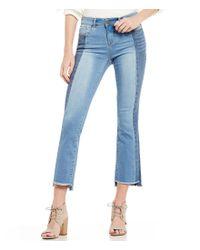 William Rast | Blue Flare Stretch Denim Frayed Hem Cropped Jeans | Lyst