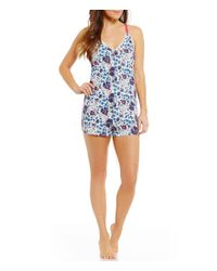 Lucky Brand | Blue Floral Jersey Lounge Romper | Lyst