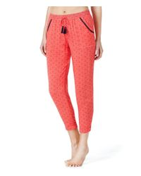 Kensie - Red Tasseled Ditsy Sleep Pants - Lyst