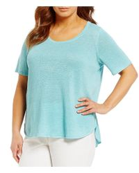 Eileen Fisher | Blue Plus Scoop Neck Short Sleeve Top | Lyst