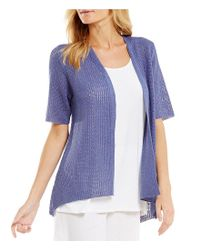 Eileen Fisher | Blue Petites Elbow Sleeve Cardigan | Lyst