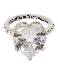 Betsey Johnson | Metallic Blue By Cubic Zirconia Heart Ring | Lyst