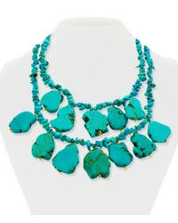 Panacea | Blue Turquoise Chip Double-row Statement Necklace | Lyst
