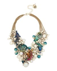 Betsey Johnson | Multicolor Mermaid & Sea Shell Faux-pearl & Mesh Statement Necklace | Lyst