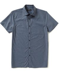 Vince Camuto - Blue Slim-fit Mixed Media Short-sleeve Solid Woven Shirt for Men - Lyst