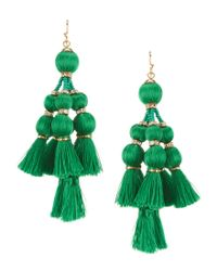 kate spade new york | Green Pretty Poms Giant Tassel Statement Earrings | Lyst