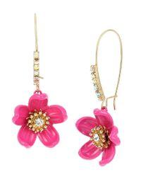 Betsey Johnson - Pink Tropical Flower Drop Earrings - Lyst