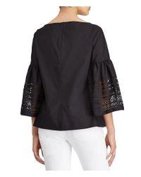 Lauren by Ralph Lauren | Black Laser-cut Cotton-blend Shirt | Lyst
