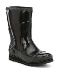 Sorel - Black Joan Rain Short Gloss Booties for Men - Lyst