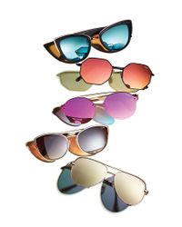 Quay - Metallic On A Dime Mirrored Octagonal Sunglasses - Lyst