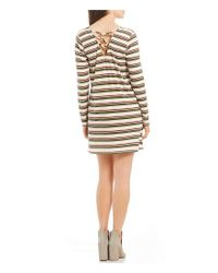 Rossmore. - Natural By Ppla Kadri Striped Lattice Back Knit Swing Dress - Lyst